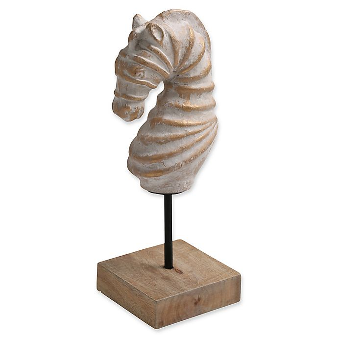 Alternate image 1 for Ren-Wil Seahorse Statue with Distressed Gold Finish