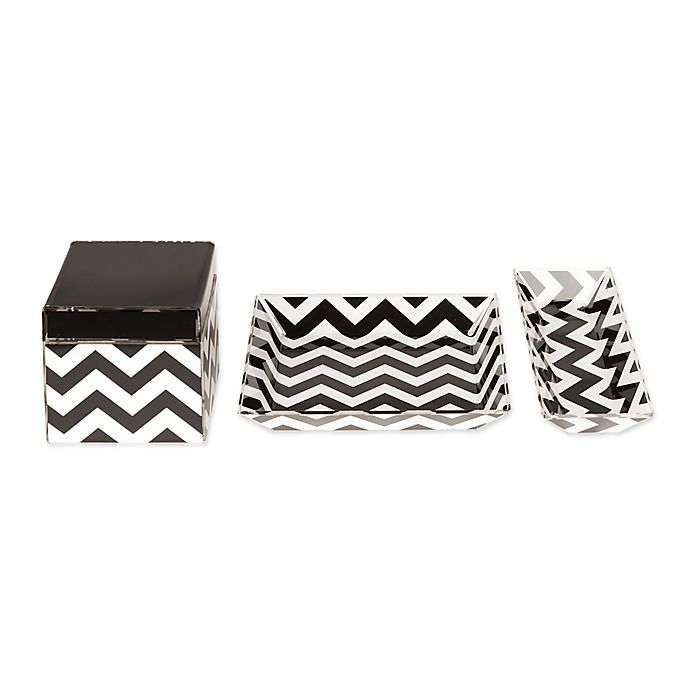 Alternate image 1 for Kate and Laurel Luxe 3-Piece Desk Organizer Set in Black/White