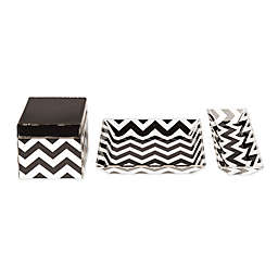 Kate and Laurel Luxe 3-Piece Desk Organizer Set in Black/White