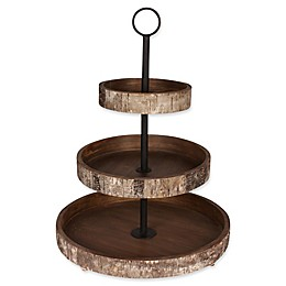 Kate and Laurel White Birch Rustic 3-Tiered Tray