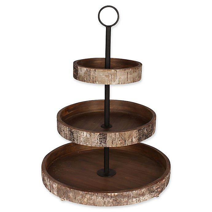 Alternate image 1 for Kate and Laurel White Birch Rustic 3-Tiered Tray