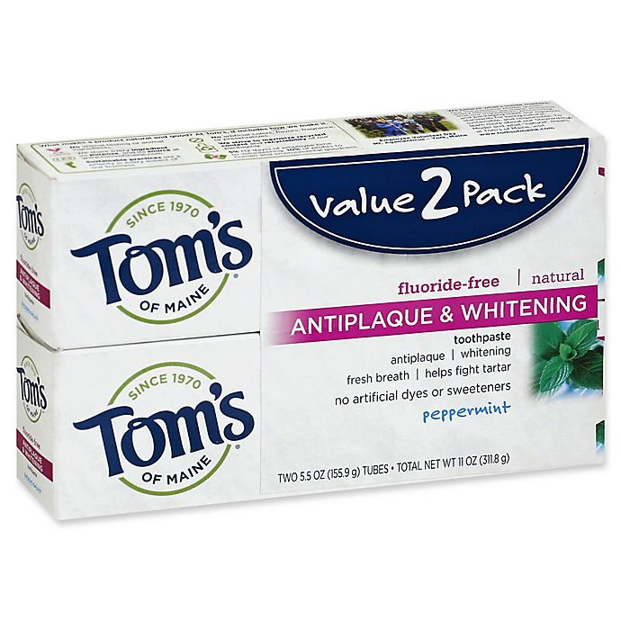 Alternate image 1 for Tom's of Maine® 2-Pack 5.5 oz. Antiplaque & Whitening Toothpaste in Peppermint