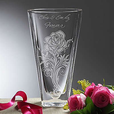 Rose Romance Etched Crystal Vase