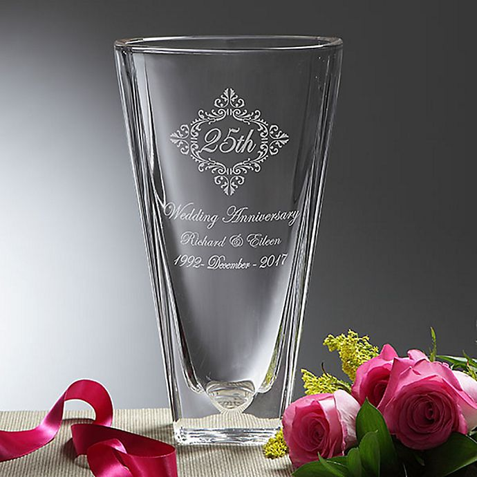Alternate image 1 for Anniversary Memento Etched Crystal Vase