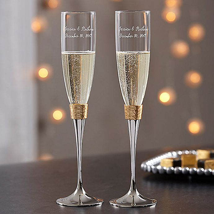 Gold Hammered Engraved Wedding Champagne Flutes (Set Of 2