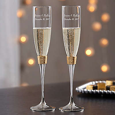 Gold Hammered Engraved Wedding Champagne Flutes (Set of 2)