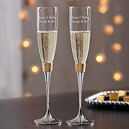 Gold Hammered Engraved Wedding Champagne Flutes (Set of 2)
