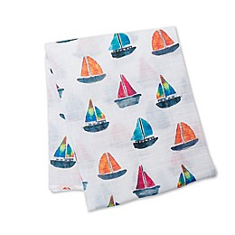 Lulujo Baby Sailboats Muslin Swaddle Blanket in White