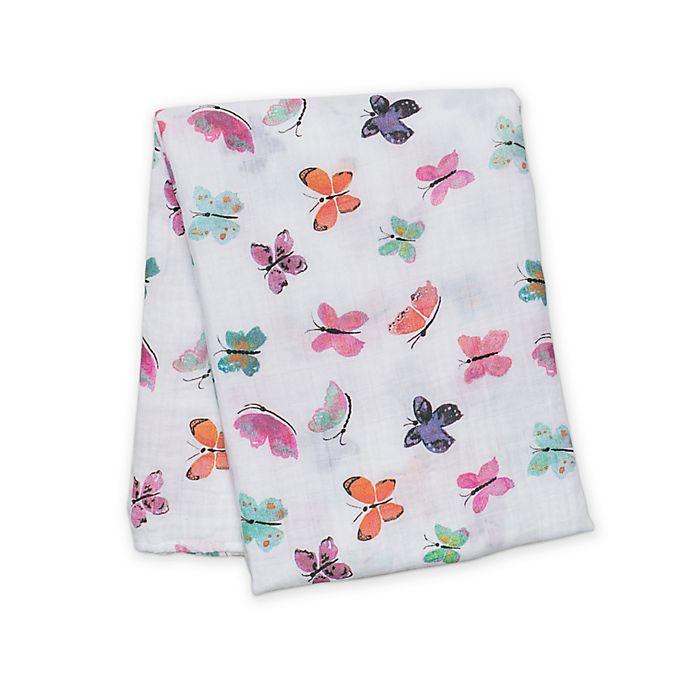 Alternate image 1 for Lulujo Baby Butterfly Muslin Swaddle Blanket in White