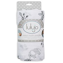 Lulajo Baby Afrique Muslin Swaddle Blanket in White