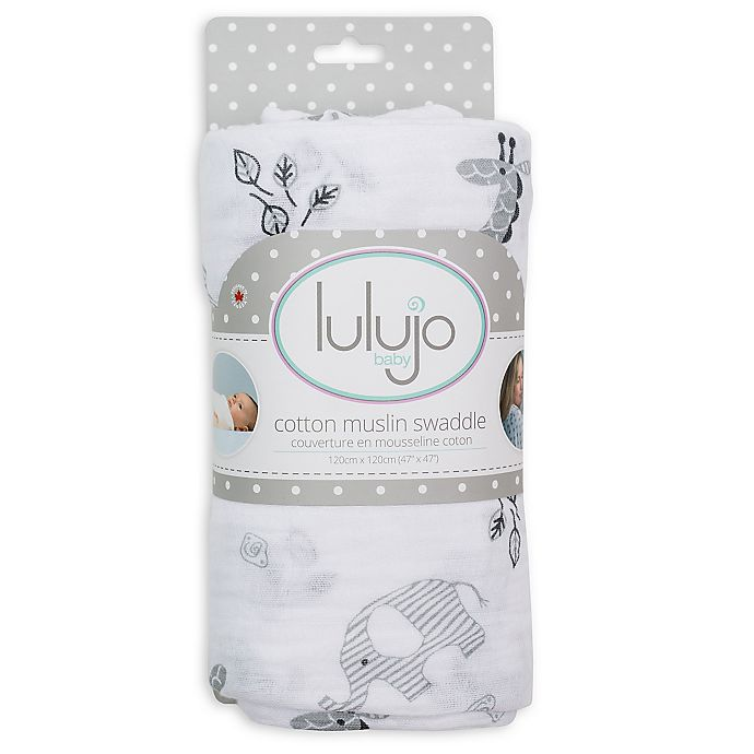 Alternate image 1 for Lulajo Baby Afrique Muslin Swaddle Blanket in White