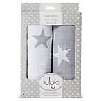 Lulajo Baby 2-Pack Stars Muslin Swaddle Blanket Set in White