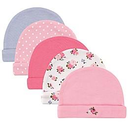 Luvable Friends® 5-Pack Size 0-6M Floral and Dots Infant Caps