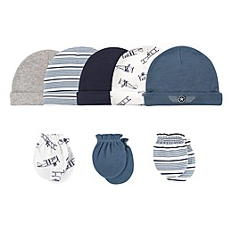 Hudson Baby® Size 0-6M 8-Piece Aviator Cap and Scratch Mitten Set
