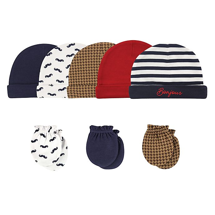 Alternate image 1 for Hudson Baby® Size 0-6M 8-Piece Bonjour Cap and Scratch Mitten Set