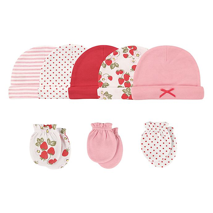 Alternate image 1 for Hudson Baby® Size 0-6M 8-Piece Strawberries Cap and Scratch Mitten Set