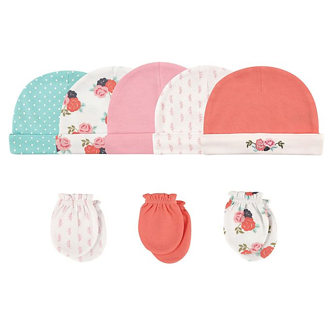 Alternate image 1 for Hudson Baby® Size 0-6M 8-Piece Floral Cap and Scratch Mitten Set