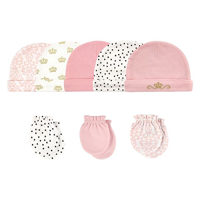 Alternate image 1 for Hudson Baby® Size 0-6M 8-Piece Tiara Cap and Scratch Mitten Set