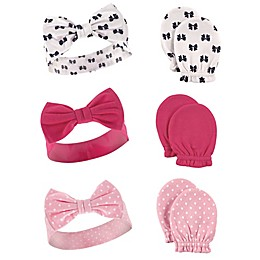 Hudson Baby® 6-Piece Headband and Mitten Set in Pink