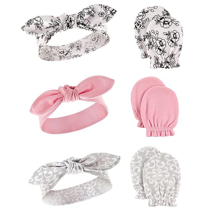 Alternate image 1 for Hudson Baby® 6-Piece Floral Headband and Mitten Set