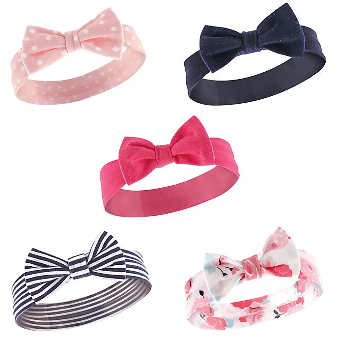 97e38b6a9 Hudson Baby® 5-Pack Patterned Headbands in Navy/Pink | buybuy BABY