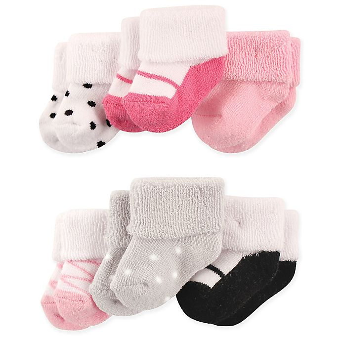 Alternate image 1 for Luvable Friends® Size 0-3M 6-Pack Ballet Shoes Baby Socks
