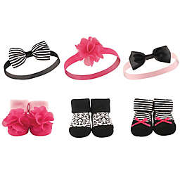 Hudson Baby® 6-Pack Baby Headband and Socks Set in Black/Pink