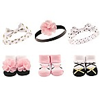 Hudson Baby® 6-Pack Baby Headband and Socks Set in Pink/Gold