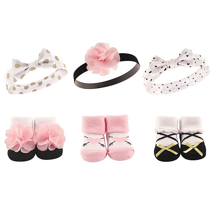 Alternate image 1 for Hudson Baby® 6-Pack Baby Headband and Socks Set in Pink/Gold