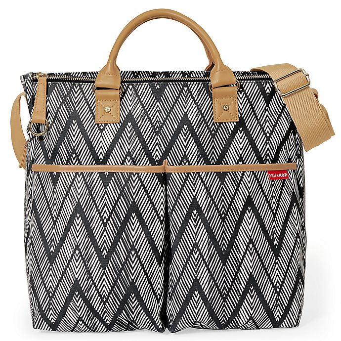 Alternate image 1 for SKIP*HOP® Duo Special Edition Zigzag Zebra Diaper Bag in Black/White