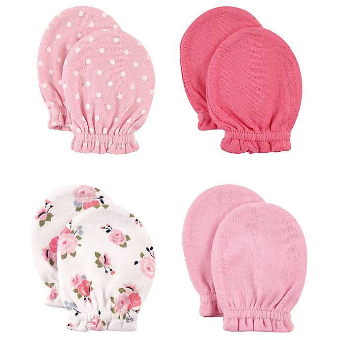 Alternate image 1 for Baby Vision® Luvable Friends 4-Pack Size 0-6M Floral and Dots No Scratch Mittens