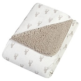 Trend Lab® Stag Head Flannel and Faux Shearling Blanket in Grey