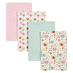 Trend Lab® 4-Pack Elephants and Owls Flannel Receiving Blankets