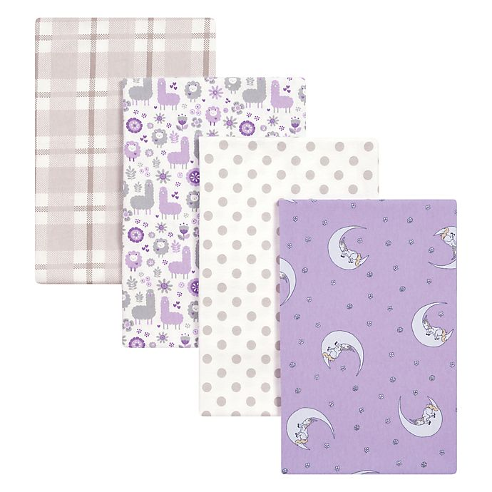 Alternate image 1 for Trend Lab® 4-Pack Llamas Flannel Receiving Blankets in Purple