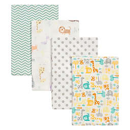 Trend Lab® 4-Pack Mint Jungle Flannel Receiving Blankets