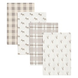 Trend Lab® 4-Pack Stag and Moose Flannel Receiving Blankets in Grey