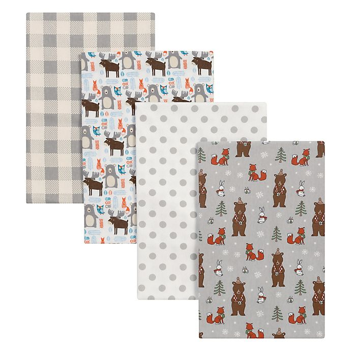 Alternate image 1 for Trend Lab® 4-Pack Scandi Cocoa Flannel Receiving Blankets in Grey