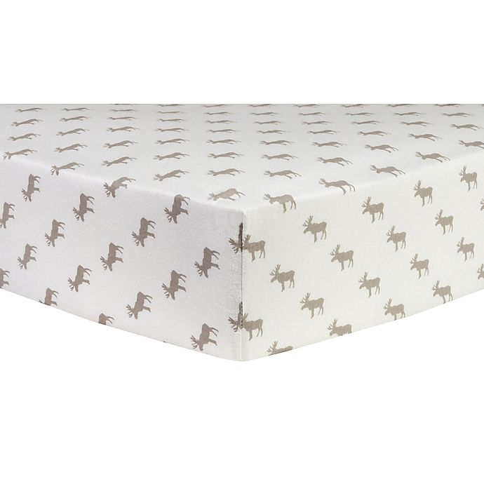 Alternate image 1 for Trend Lab® Moose Silhouettes Flannel Fitted Crib Sheet in Grey