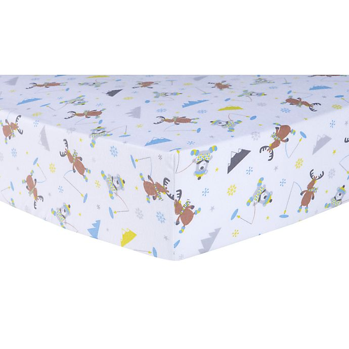 Trend Lab 174 Ice Fishing Flannel Fitted Crib Sheet In Grey