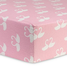 Trend Lab® Swan Fairytale Flannel Fitted Crib Sheet in Pink
