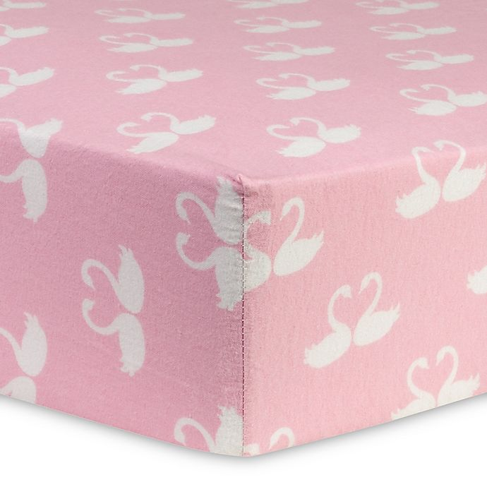 Trend Lab 174 Swan Fairytale Flannel Fitted Crib Sheet In