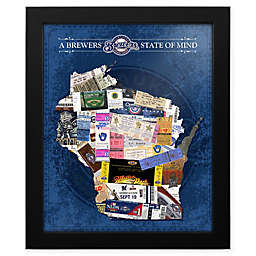 MLB Milwaukee Brewers Wisconsin State of Mind Canvas Framed Print Wall Art