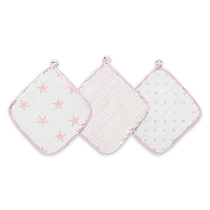 Alternate image 1 for aden + anais™ essentials Doll 3-Pack Washcloths in Pink