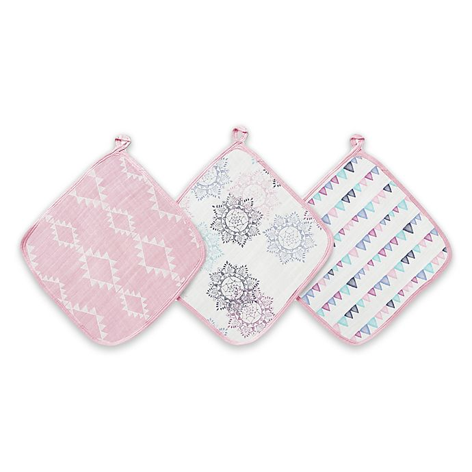 Alternate image 1 for aden® by aden + anais® Pretty Pink 3-Pack Washcloths