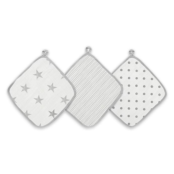 Alternate image 1 for aden + anais™ essentials Dusty 3-Pack Washcloths in Grey