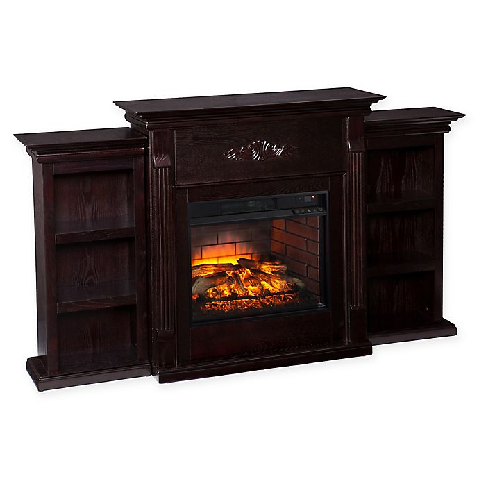 Alternate image 1 for Southern Enterprises Tennyson Infrared Electric Fireplace with Bookcases in Espresso
