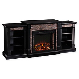 Southern Enterprises Gallatin Stone Electric Fireplace with Bookcase in Black