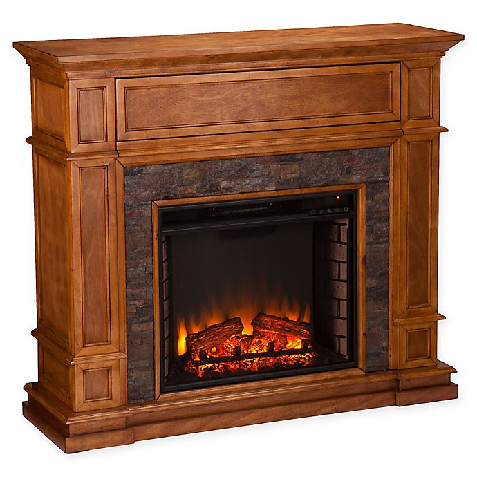 Alternate image 1 for Southern Enterprises Belleview Simulated Stone Media Center Electric Fireplace in Sienna