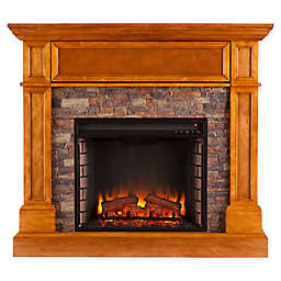 Southern Enterprises Rosedale Stone Convertible Electric Media Fireplace in Sienna