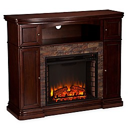 Southern Enterprises© Hillcrest Faux Stone Media Stand Electric Fireplace in Espresso